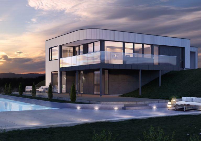 Moderne hus med svømmebasseng